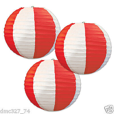3 CARNIVAL Circus Big Top Party Decoration Red White Stripes HANGING LANTERNS (Circus Decor)