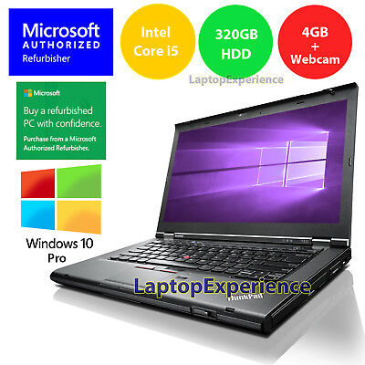 LENOVO LAPTOP WINDOWS 10 PRO T430 DVD i5 2.5GHz 320GB HD WEBCAM WiFi NOTEBOOK PC