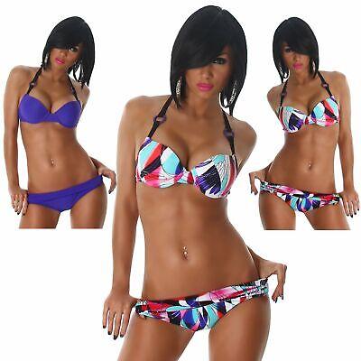 Push Up Neckholder Bikini Beachwear Sommer & Strand Sexy bunt Ringe Größe Neu