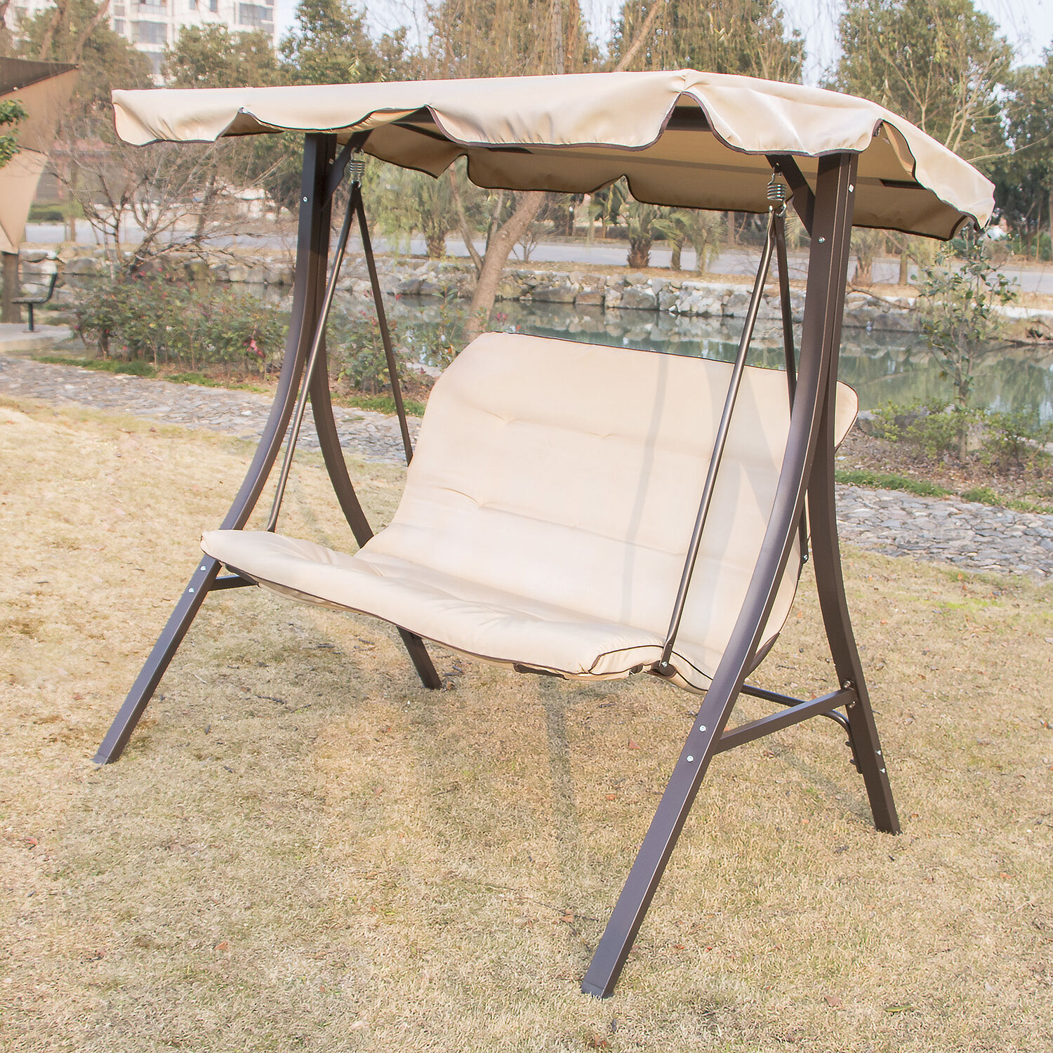 outdoor 2 person canopy swing glider hammock patio backyard porch furniture ebay. Black Bedroom Furniture Sets. Home Design Ideas