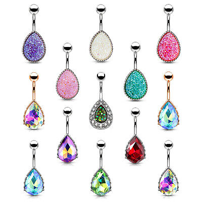 BodyJ4You Belly Button Ring Tear Drop Large Crystal 14G Heart Filigree Navel