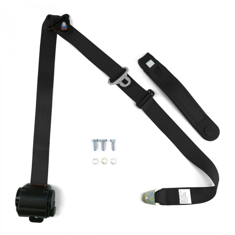 3pt Black Retractable Seat Belt Standard Buckle - Each RSBK rat