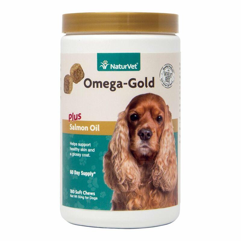 NaturVet OMEGA-GOLD Dog Soft Chew Healthy Skin Glossy Coat 180 ct