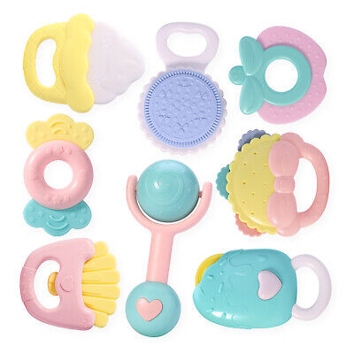 8pcs Baby Rattles and Teethers,Gift for 0, 3, 6, 9, 12 Months Old,Newborn Babies