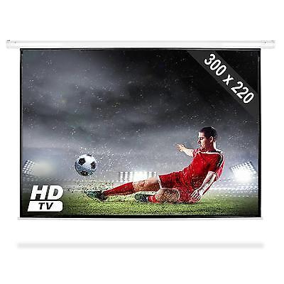 "300 x 220 CM (150"") MOTOR LEINWAND VINYL LCD VIDEO BEAMER 4:3/16:9 FERNBEDINUNG"