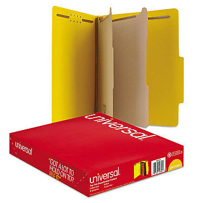 Universal Pressboard Classification Folders Letter Six-section Yellow 10box