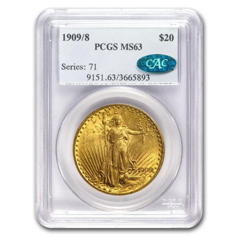 1909/8 $20 Saint-gaudens Gold Double Eagle Ms-63 Pcgs - Sku#68106