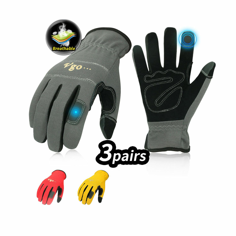 Vgo 3Pairs Flex Grip Leather Work Gloves, Light duty Mechani