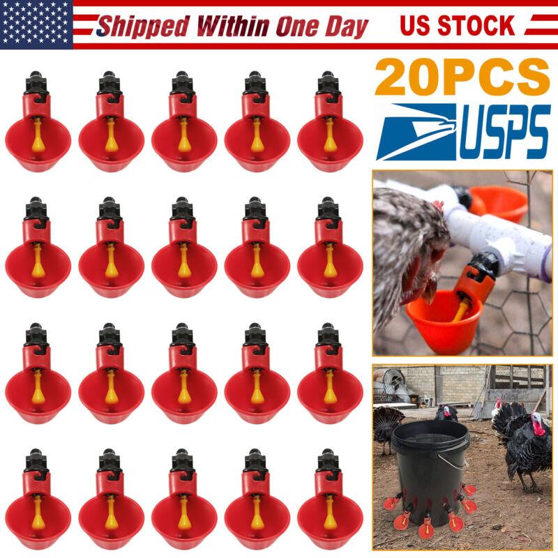 (20) AUTOMATIC WATERER DRINKER CUPS CHICKEN COOP POULTRY CHOOK BIRD TURKEY DRINK