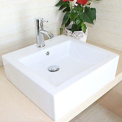Bathroom Unstinting White Bowl Porcelain Ceramic Vessel Sink Chrome Faucet Combo