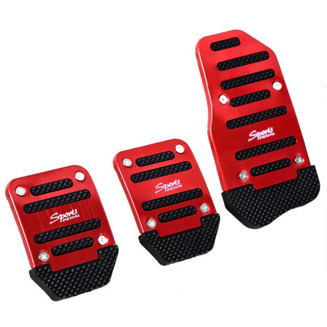 3 Pcs Practical Black Red Metal Plastic Nonslip Pedal Cover Set for Car BTSZUK