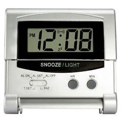 31302S Equity by La Crosse LCD Digital Fold-Up Travel Alarm Clock - Silver
