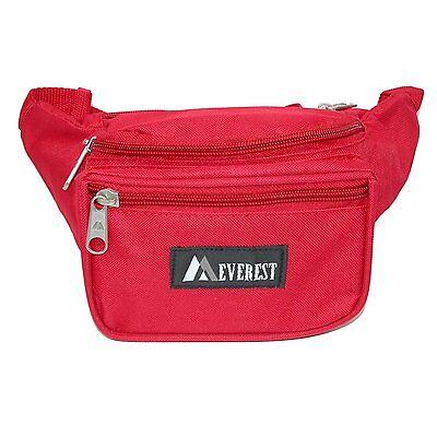 RED WAIST FANNY PACK 044KD EVEREST TRAVEL PASSPORT HAND FREE