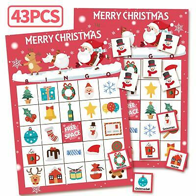 Christmas Games Bingo Cards for Kids Class Party Supplies Activity 32 Players ()