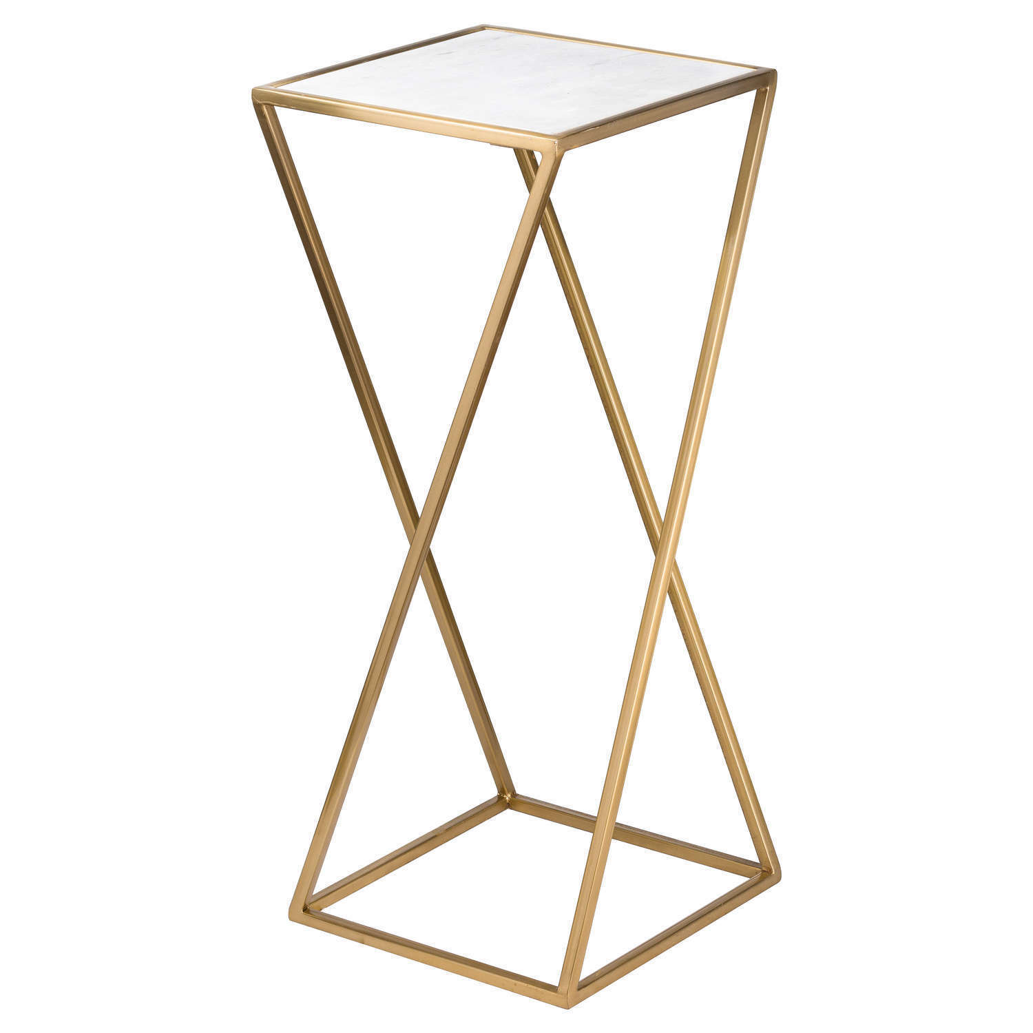 WHITE MARBLE & GOLD BRASS METAL SQUARE SIDE END LAMP COFFEE TABLE
