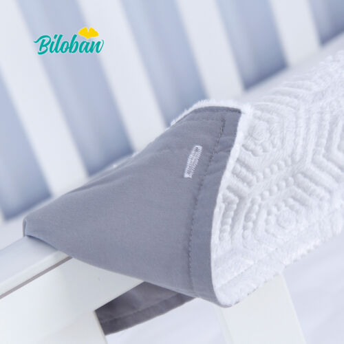 Crib Rail Cover Safe Teething Guard Wrap for Long Front Crib Rails Protector