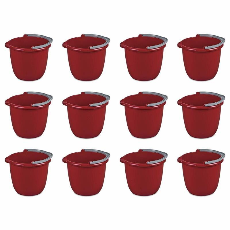 Sterilite Large 10-Qt Easy Pour Spout Pail w/ Comfy Grip Handle, Red (12 Pack)