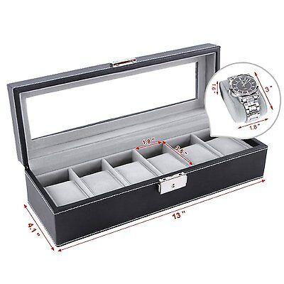 6 Slot Watch Box Leather Display Case Organizer Top Glass Jewelry Storage Black