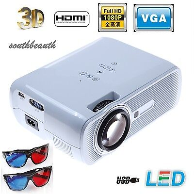 3000 Lumens HD 1080P 3LCD/LED Video Projector Home Theater Multimedia HDMI TV 3D