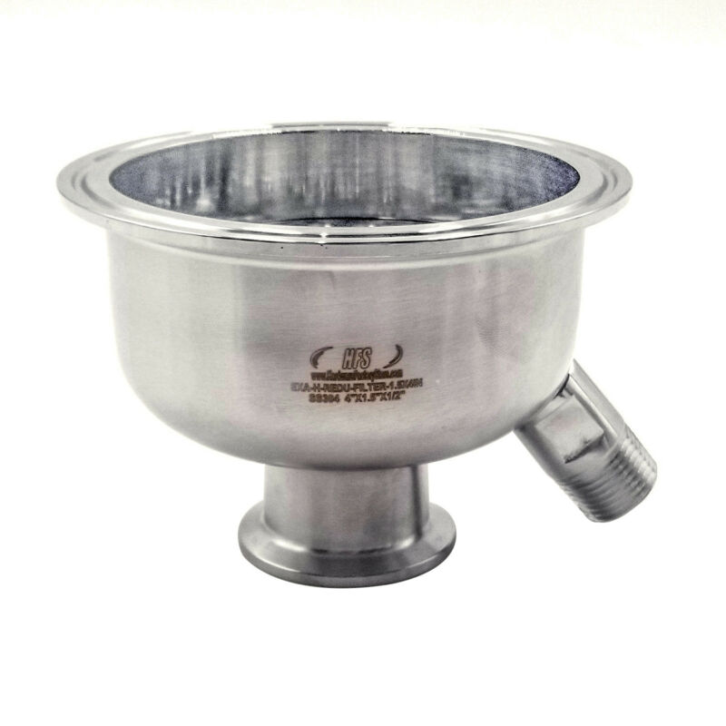 """HFS(R) 304 Stainless Sanitary Reducer 4"""" to 1.5"""" w 6mm Holes Filter (w/male)"""