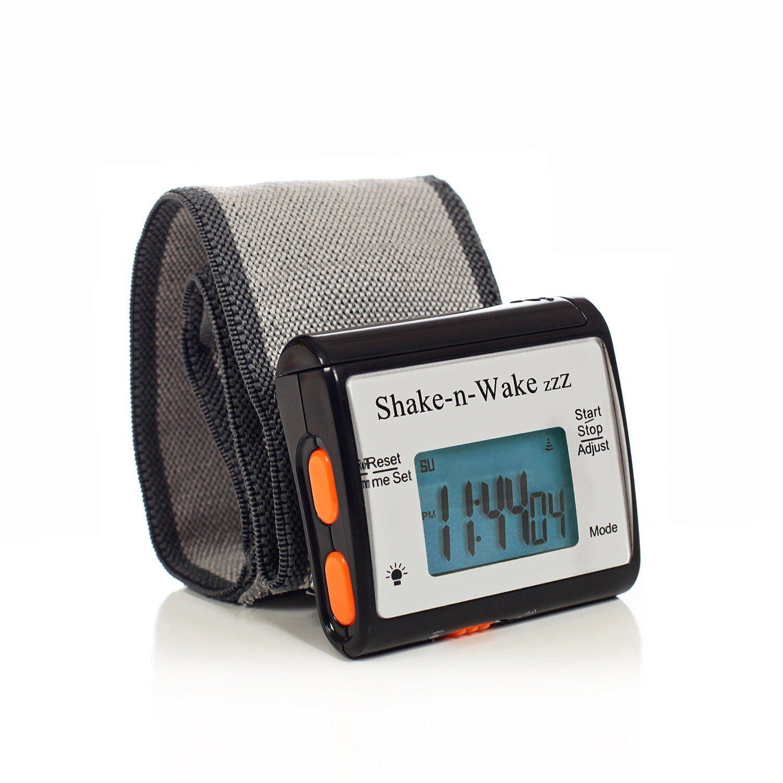 Silent Vibrating Alarm Clock Personal Shake N Wake LED Clock Black 2 Pack