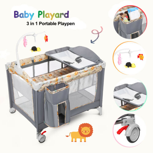 3 in 1 Baby Playard Playpen Foldable Bassinet Bed w/ Music