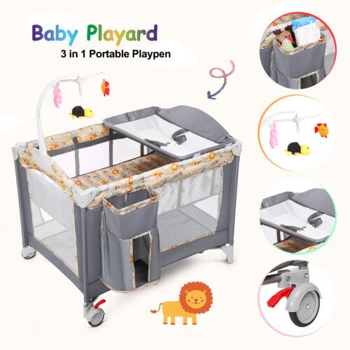3 in 1 Baby Playard Playpen Foldable Bassinet Bed w/ Music B