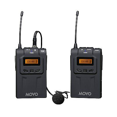 Movo WMIC70 48-Channel UHF Wireless Lavalier Microphone System ~ 328'/100m Range