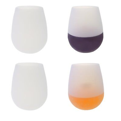 Outdoor Silicone Unbreakable Wine Glass Stemless Beer Whiskey Cups White