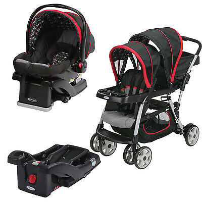 Graco Ready2Grow Double Stroller with SnugRide Car Seat & Extra Base, Marco