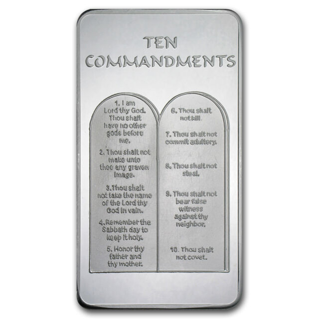 10 Oz Ten Commandments Silver Bar 999 Fine Ebay