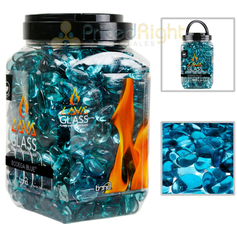 Bodega Blue Mini Cut LavaGlass Firepit Dispersion Glass 10 lbs Fireplace 67994