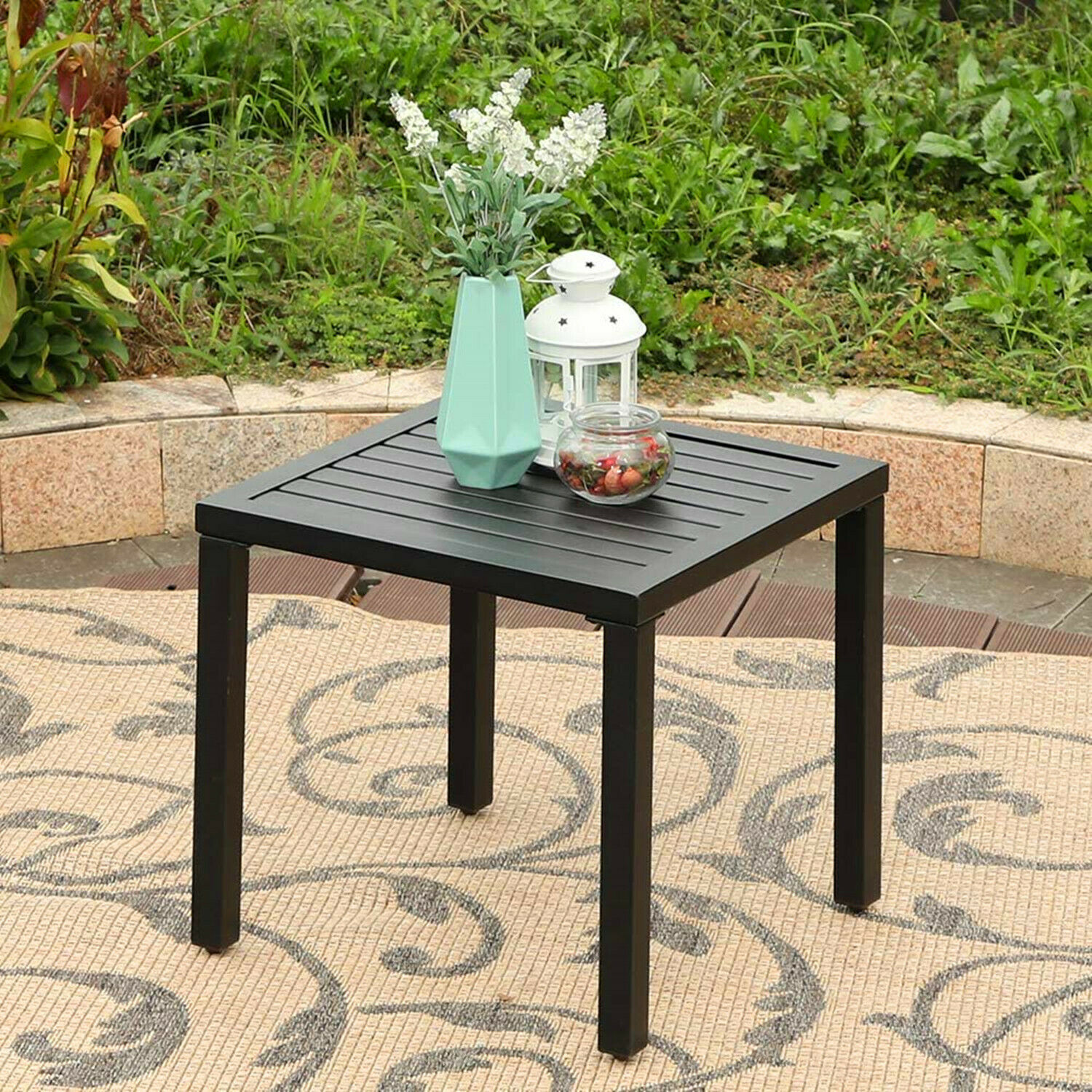 Side End Table Metal Patio Coffee Tables Square Black For Indoor Outdoor