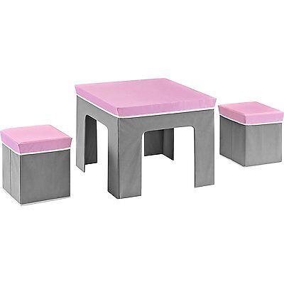 Cosco Jamie Folding Kids' Table and Ottoman Set, Pink / Gray - BRAND NEW