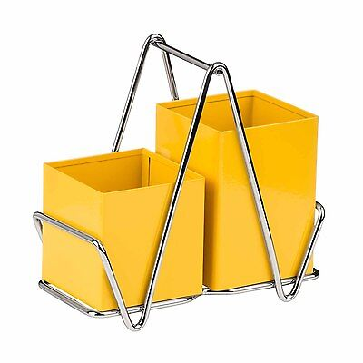 Premier Housewares Yellow Cutlery Caddy Metal Utensil Holder Drainer Storage