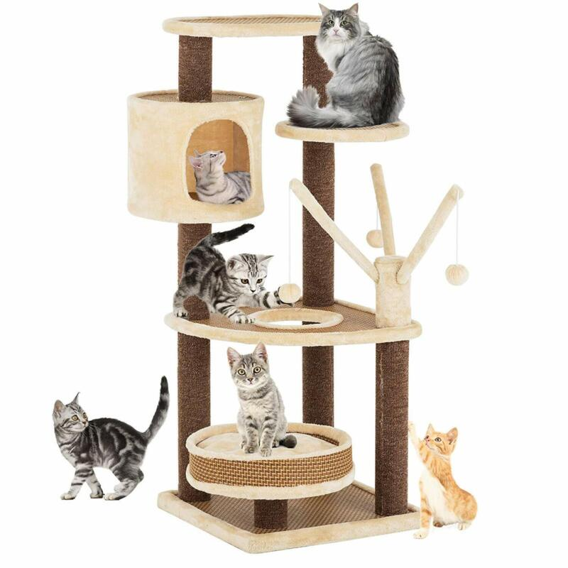 """43"""" Cat Tree Scratching Condo Kitty House Climb Tower w/ Removable Washable Mat"""