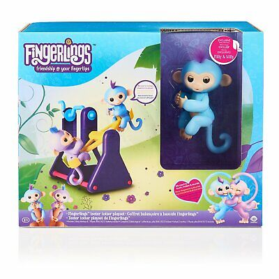 WowWee Fingerlings Playset See-Saw with 2 Baby Monkey Toys