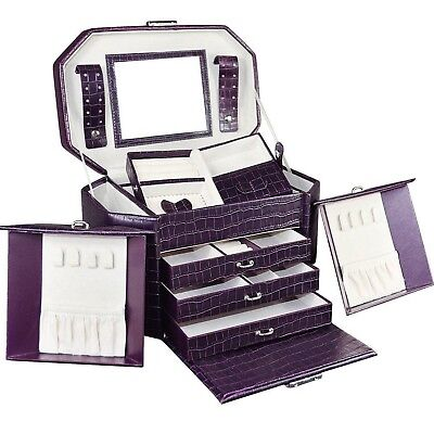 Purple Leatherette Jewelry Case Box Organizer with Lock and Key