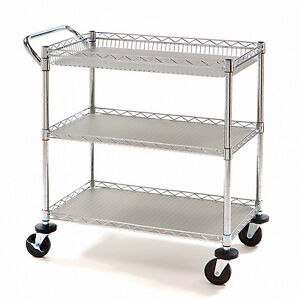 New Heavy Duty Rolling Utility Push Cart Chrome Metal Medical Restaurant NSF