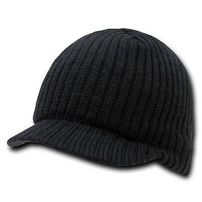 New Black Solid Campus Visor Jeep Skull Knit Ski Winter Beanie Cap Caps Hat Hats