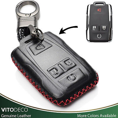 Vitodeco 4 Buttons Leather Keyless Smart Key Fob Cover for GMC Sierra, Canyon