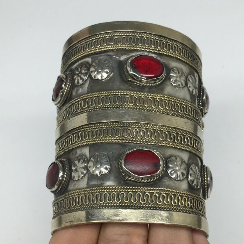 96.7g, Turkmen Bracelet Cuff Old Vintage Tribal Carnelian Inlay,Statement TN505