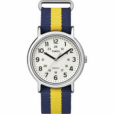 Timex TW2P67700, Men's Weekender Blue/Yellow Striped Fabric Watch, Indiglo