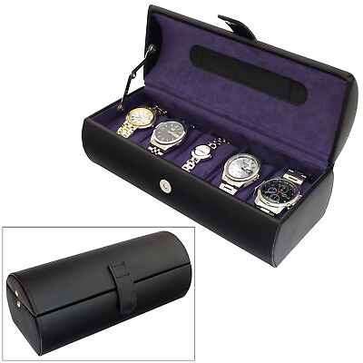 LEATHERSMITH® BLACK BONDED LEATHER 5 COMPARTMENT WATCH BOX WITH PURPLE INTERIOR