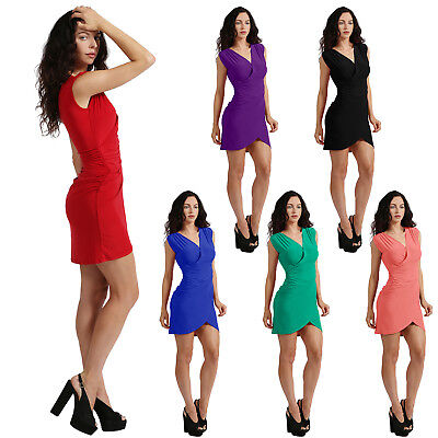 NE PEOPLE Womens Deep V Neck Front Wrapped Ruched Dress Made in USA [NEWDR97]