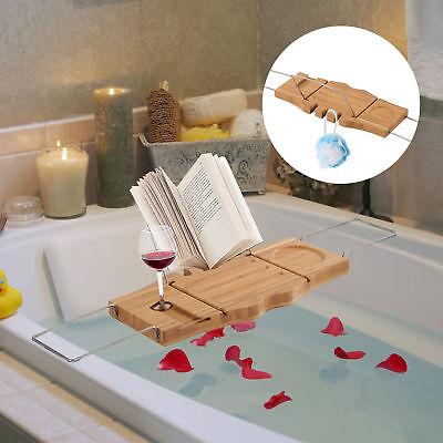 HOMCOM Adjustable Bath Tub Rack Tray Wooden Caddy Shelf Tablet