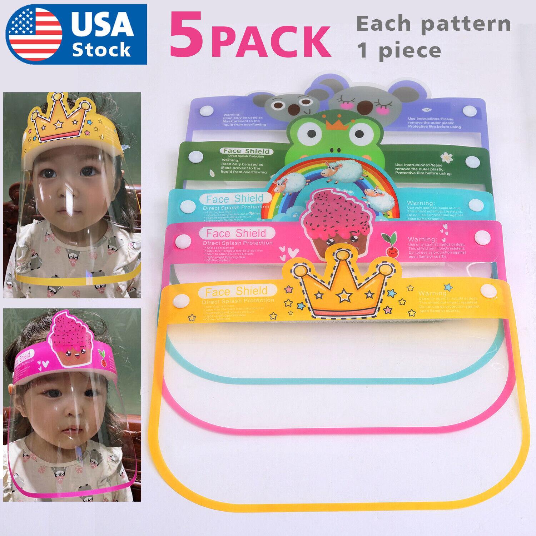5PACK Kids Face Shield Face Mask Anti Splash Plastic HD Clear Anti Fog Accessories