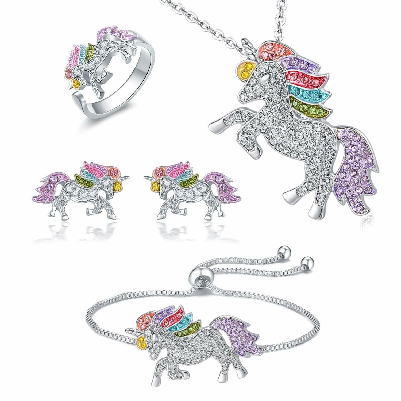 Jewellery - Unicorn Jewelry Set Rainbow Rhinestone Crystal Necklace, Bracelet, Earring,Ring