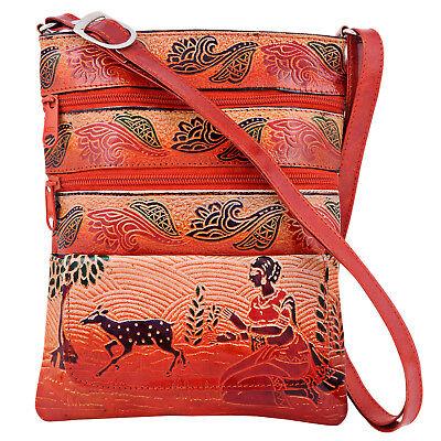 India Bengal Shantiniketan Vintage Crossbody Leather Ethnic Bag Brown Embossed