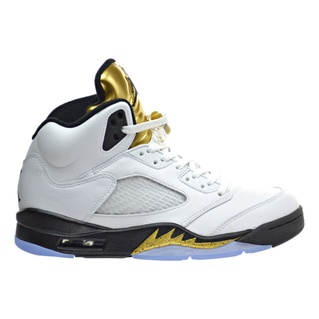 Air Jordan 5 Retro Men\u0026#39;s Shoes White/Black/Metallic Gold Coin 136027-133